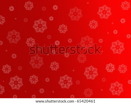 Christmas snowflakes isolated against a red background