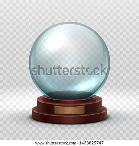 Christmas snowglobe. Crystal glass empty ball. Magic xmas holiday snow ball mockup isolated. Illustration of dome souvenir transparency, sphere ball glossy