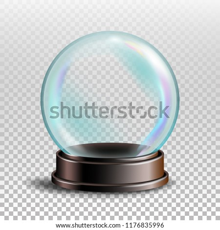 Christmas Snowglobe. Sphere Ball. Crystal Glass Empty Ball. Background . Realistic Illustration