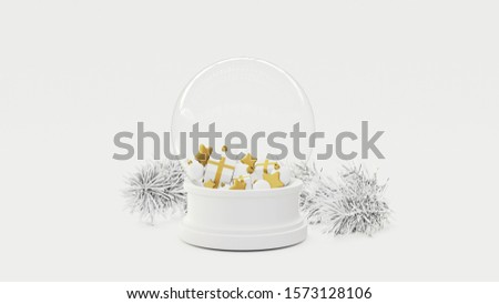 Christmas snowglobe with presents, balls, stars and pine branches. 3D render.