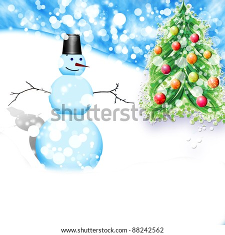 Christmas snowman and Christmas tree