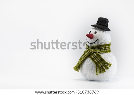 Christmas snowman close up with scarf, isolated