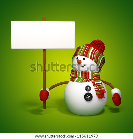 Christmas snowman holding banner