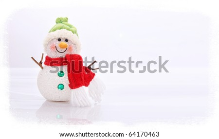 Christmas snowman on white background, space to add text or design, Xmas card