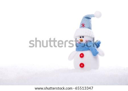 christmas snowman ornament background; (very shallow deep)