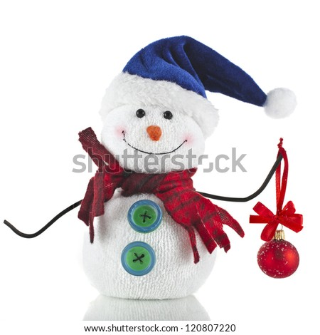 Christmas snowman with santa claus hat and red ball , isolated on white background