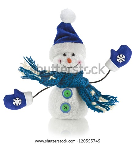 Christmas snowman with scarf and santa claus hat , isolated on white background