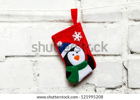 Christmas sock on the white wall