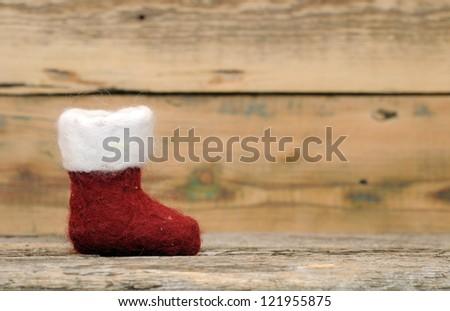 Christmas sock on wood