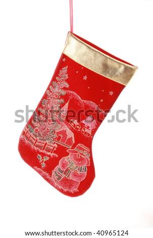 Christmas sock over white