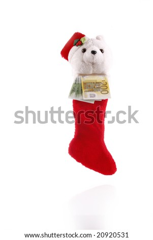 Christmas sock with money as a gift - european currency