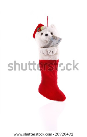 Christmas sock with money as a gift - Qatar currency