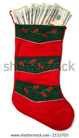 Christmas sock with season's details and money in it illustrating the concept of money spending.