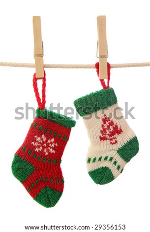 Christmas socks isolated on white background