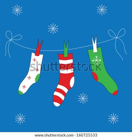 Christmas socks on the line