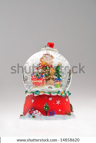 Christmas Souvenir. A cute Christmas souvenir with Santa Claus, tree, teddy and other objects, isolated on a white background.