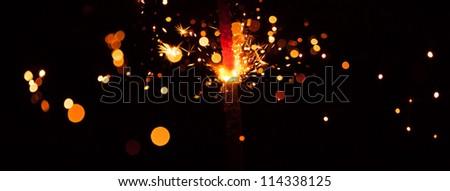 christmas sparkler, wide image