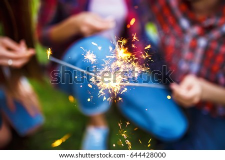 christmas sparklers.  Group of friends enjoying party.people are are holding christmas sparklers in their hands.The guy plays the guitar. Everyone has a great mood. Summer time.   #644428000