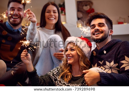 Christmas sparklers-happy friends enjoying party on Christmas #739289698