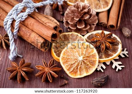 Christmas spices: star anise, cardamom, cloves and fragrant cinnamon sticks