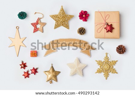 Christmas star decorations collection for mock up template design. View from above. Flat lay - Shutterstock ID 490293142