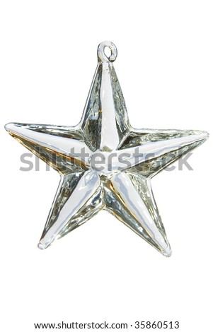 christmas star of glass on white base