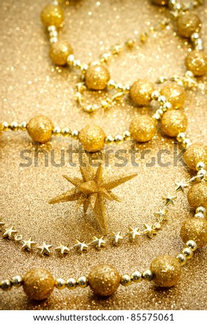 Christmas star with golden ornament