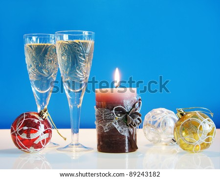 Christmas still life against the blue background