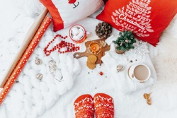 Christmas still life, cappuccino and decorations, festive background. Top view