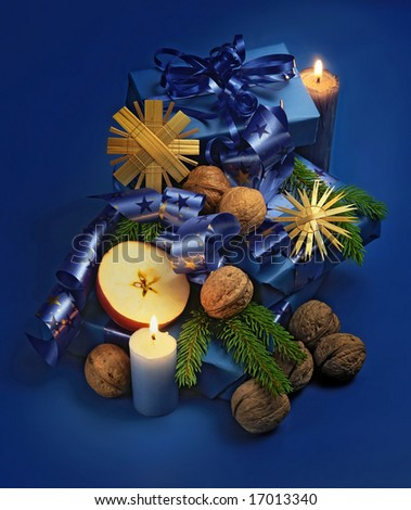 christmas still life in blue - stock photo