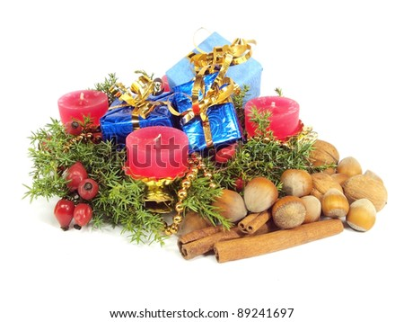 christmas still life on a white background - stock photo