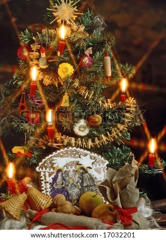 christmas still life with a traditional Bethlehem - stock photo