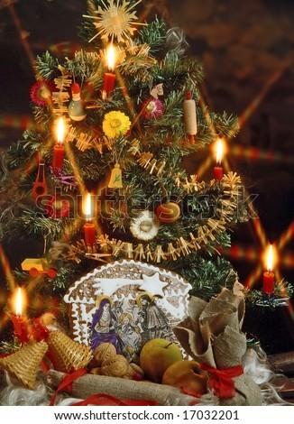 christmas still life with a traditional Bethlehem