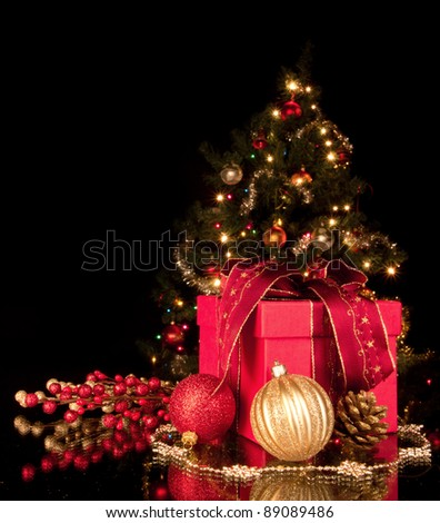 Christmas still life with christmas tree