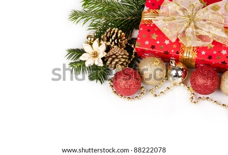 Photo of Christmas still life with free space for text, isolated on white background
