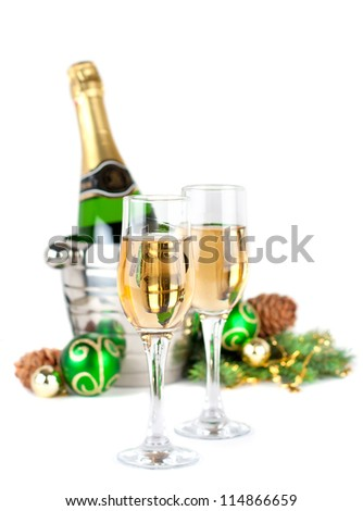 Christmas still life  with glasses of champagne
