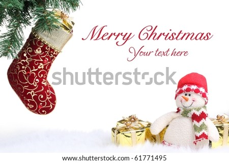 Christmas stocking and snowman with gifts on white background.
