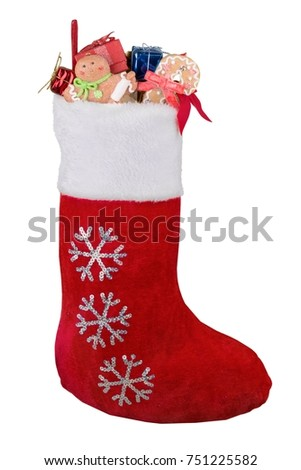 Stock Photo Christmas Stocking Full of Presents and Goodies