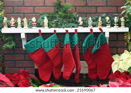 Christmas stocking hung by the chimney.