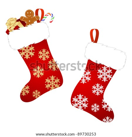 Christmas stocking isolated on a white background.