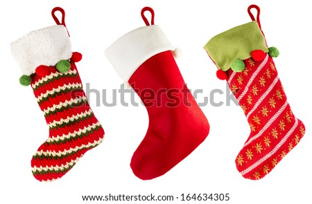 Christmas stocking isolated on white background - Shutterstock ID 164634305
