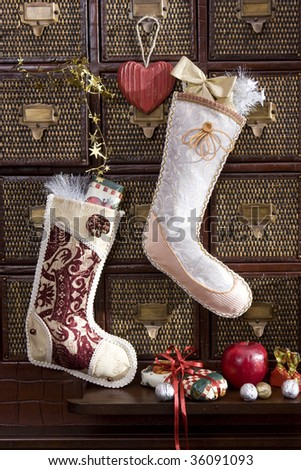 christmas stocking with golden gift