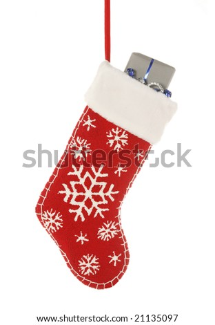 Christmas stocking with present isolated on white