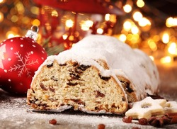 Christmas stollen, cookies and Christmas decorations