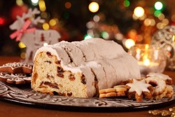 Christmas stollen, cookies and decorations.