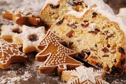 Christmas stollen, cookies and gingerbread cookies