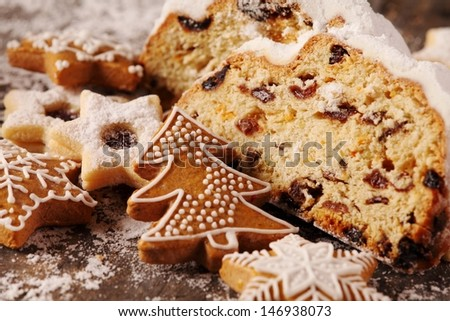 Christmas stollen, cookies and gingerbread cookies
