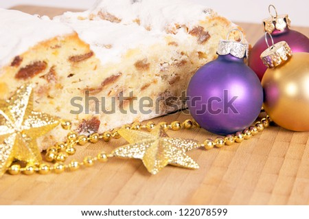 Christmas stollen with Christmas decorations / Christmas Time