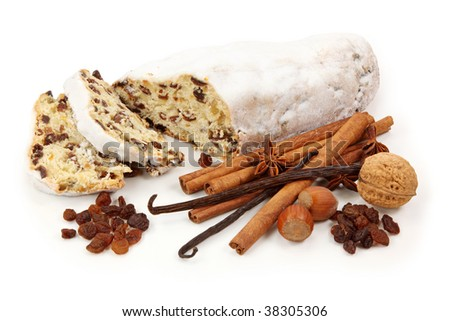 Christmas stollen with spices isolated on white background