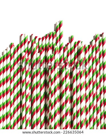 Christmas striped paper straws  isolated on white background.